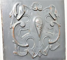 Medieval blazon armorial wood carving panel Antique french architectural salvage