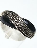 """Jugendstil - Art Deco Silber Ring 925 Silber Hersteller """"HWH"""" Onix Markasiten"""
