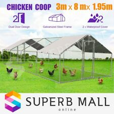 Extra Large Chicken Coop Run Cage Metal Guinea Pig House Outdoor Rabbit Hutch