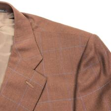 Ermenegildo Zegna Men's Wool Blazer Rust Orange Blue Windowpane • 44 Reg