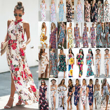 Womens Floral Print Boho Dress Ladies Evening Party Long Maxi Dress Dresses New