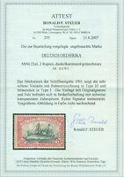 Deutsch Ostafrika DOA, Schiffszeichnung Nr. 21 a I, Falz, BPP-Attest