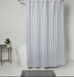 Threshoold  Shower Curtain Cotton Nautical Blue Stripe Size 72 x 72 New