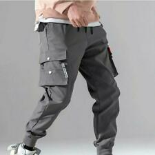 Chic Men Korean Cargo Pants Solid Summer Youth Casual Sport Overalls Trousers Sz