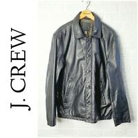 J. Crew mens black leather jacket Large
