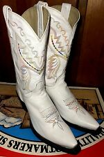 DAN POST Women's WHITE Multi-Color Stitched Leather Western Cowboy Boots 8.5 M