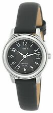 Timex T29291, Women's Black Leather Watch, Indiglo, Date, Black Dial