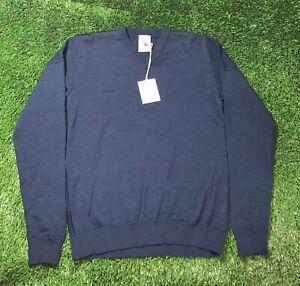 $300 S.N.S. Herning Dark Navy V-Neck Crewneck Sweater Large NWT Wool