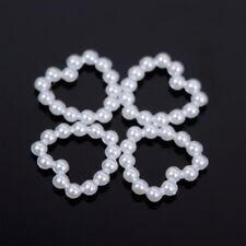 Beads Decoration Back Flat Heart DIY 50pcs Scrapbook White Craft Bead Pearl