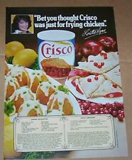 1983 print ad page - Crisco LORETTA LYNN Apple turnover Shrimp croquettes recipe