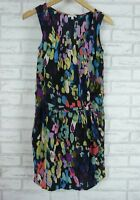 DIMENSION Dress Sz 36 Silk  Black, Blue, Purple, Green Print