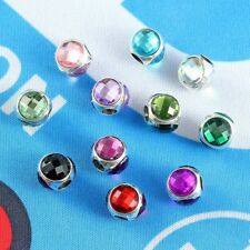 10PC Multi-color Faceted Crystal Cabochon Gem Big Hole Beads Fit Charm Bracelet
