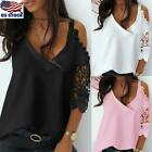 Women Cold Shoulder Long Sleeve Knit Tops Pullover Ladies Lace V Neck T-Shirt US