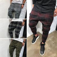 UK Men's Checked Harem Trousers Jogger Pants Loose Sweatpants Hip Hop M-3XL