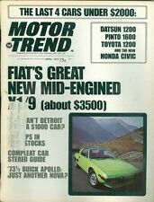 1973 Motor Trend Magazine: Fiat's Great New Mid-Engined X1/9, Datsun 1200, Pinto