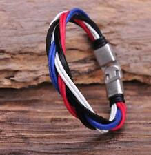 G126 Metal Clasp Braided Hemp Leather Wristband Bracelet Cuff Cool Multi-color