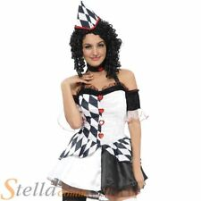 Ladies Harlequin Costume Adult Jester Clown Womens Fancy Dress Halloween Outfit