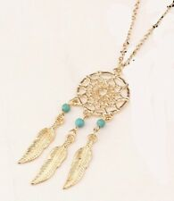 Pendant Necklace Dream Catcher Silver or Gold colour, turquoise feathers retro