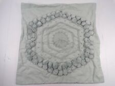 "Pottery Barn  Pom Pom Embroidered Pillow Cover 20"" Porcelain Blue #9120"