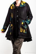 SARAH SANTOS Jacke aus 100% Wolle | schwarz/bunt | mit großem Kragen | Lagenlook