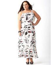 bb76f919cc2 Lane Bryant 18 Pleated Ruffled Maxi Dress Pink White Black   Gray 18w 1x 2x