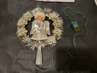 VINTAGE SILVER TINSEL TREE TOPPER WITH ANGEL