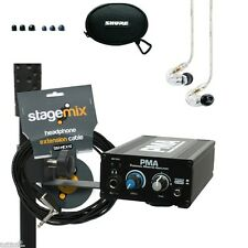 Shure SE215CL Earphones & Elite Core PMA Wired in ear Amp System Cable 10 ft