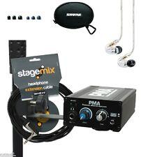 Shure SE215CL Earphones & Elite Core PMA Hard Wired In Ear Monitor Amp System