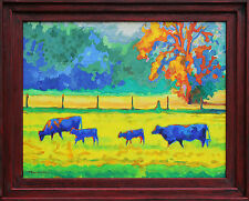 """Texas Cows and Calves at Sunset Framed Canvas Print T Bertram Poole 30""""x36"""""""