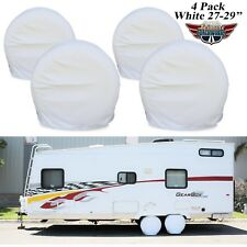 "4 Pack White RV Camper Car Trailer Truck Tire/ Wheel Covers 27-29"" Diameters- 2W"