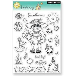 Swim Girl Beach Day Clear Unmounted Rubber Stamp Set PENNY BLACK 30-051 New