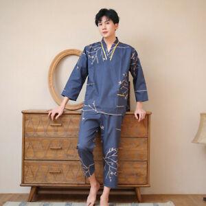 Chinese Japanese Mens Golden Branches Blue Long Kimono Pyjamas Pajamas menpjs50