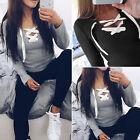 Fashion Women's Blouse Sexy V Neck Slim Bandage Lace Up T-Shirt Long Sleeve Tops