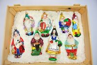 BOXED SET SNOW WHITE & 7 DWARFS POLONAISE HAND-BLOWN GLASS ORNAMENTS BY KOMOZJA
