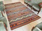 Handmade Kilim  5.7 x 9.1 ft  Vintage Traditional Striped Orange Area Rug C24