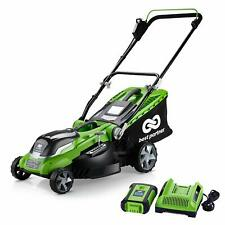 16-Inch 40V Cordless Lawn Mower Steel Cutting Deck Height Adjust With Charger US