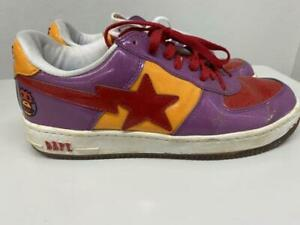 A BATHING APE Bapesta Sneaker Shoes Purple Red Orange US10 Used from Japan F/S
