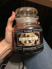 Yankee Candle CHOCOLATE TRUFFLE CANDLE 14.5 oz Jar Vintage/Black Band