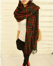 Large Women's Red Green Tartan Scarf Ladies Checked Plaid Shawl Wrap Scarves