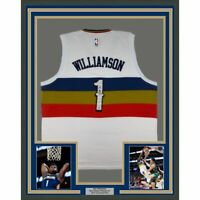 FRAMED Autographed/Signed ZION WILLIAMSON 33x42 New Orleans White Jersey PSA COA