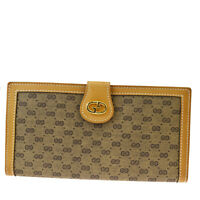 Authentic GUCCI GG Pattern Long Bifold Wallet PVC Leather Brown Italy 09MF819