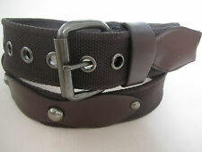 "Men's Women's Leather Studded Canvas Dress Casual Jeans Buckle Belt 1-3/4"" Biker"
