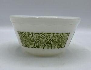 "Vintage Hazel Atlas 5"" X 2 1/2"" Milk Glass Bowl With Green Design Scalloped Edge"