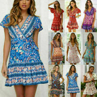 Womens Summer V-neck Floral Wrap Boho Dress Tops Ladies Holiday Beach Sundress