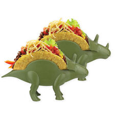 Triceratops Dinosaur Taco Holder Set of 2 - Kid Dinnerware Kitchen Utensil-Green