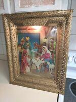 Vintage  Religious Hologram NATIVITY SCENE Lighted Metal Frame 1950s