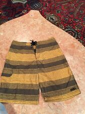 Men's / Boy's NIKE 6.0 BLACK AND YELLOW STRIPED TRUNKS/ BATHING SUIT SIZE 18