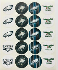 """SET of 40- 2"""" PHILADELPHIA EAGLES ADHESIVE STICKERS.Make Cupcake Toppers!"""