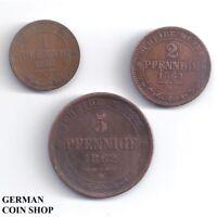 Set Königreich Sachsen - 1 Pfennig, 2 & 5 Pfennige 1862 1864 1865 B Kupfer
