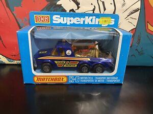 1974 MATCHBOX SUPER KINGS K6/11 TEAM HONDA BLUE PICK UP TRUCK MOTORCYCLE CARRIER